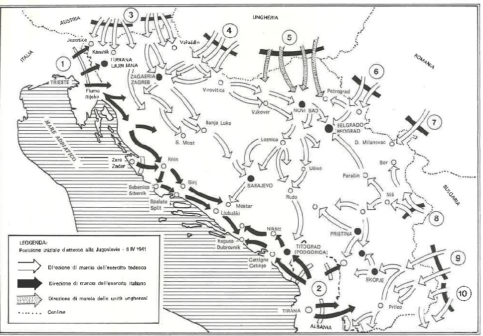 L'attacco delle truppe tedesche, italiane e ungheresi alla Jugoslavia, 6 aprile 1941
