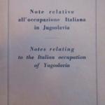 Note relative all'occupazione italiana della Jugoslavia, copertina