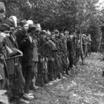Partigiani schierati in bosco
