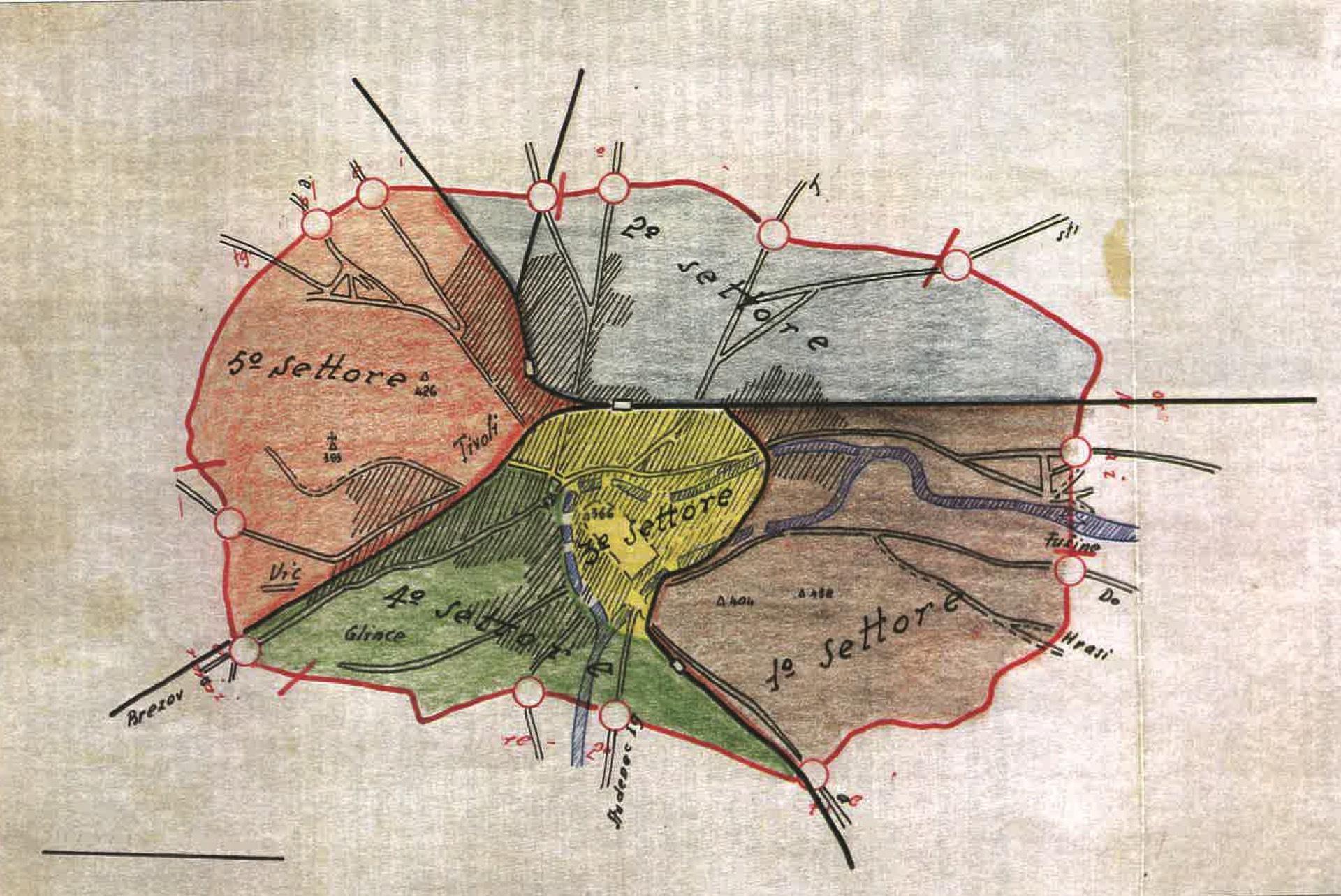 I cinque settori per il rastrellamento di Lubiana nell'estate 1941